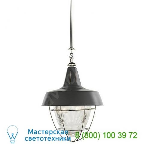 Tob 5042hab-wht visual comfort henry industrial pendant with prismatic glass, светильник