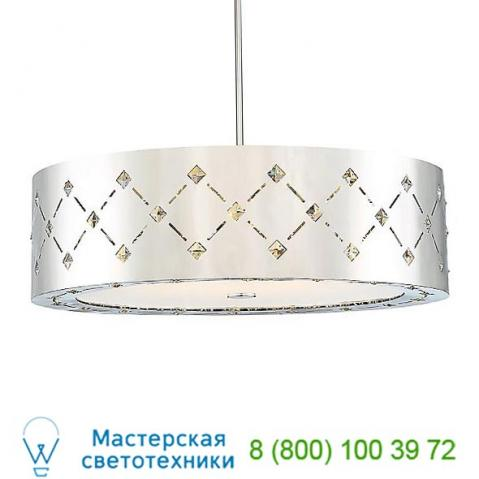 Crowned led drum shade pendant light p1034-077-l george kovacs, светильник